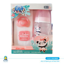 Canpol anti colic bottle, soother &soother holder set -0 M /120 ml - wide neck pink